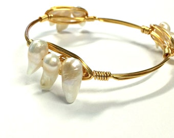 Freshwater Pearls, Wire-Wrapped Bangle---X-SMALL