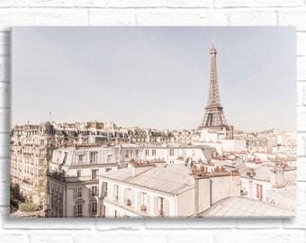 Paris Photograph on Canvas - Eiffel Tower and Rooftops of Paris,  Large Wall Art, Urban Architecture Decor