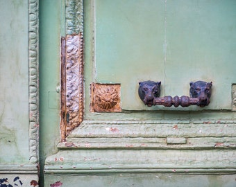 Paris Photograph - Weathered Mint Door and Knocker Rustic Decor Architectural Fine Art Photograph & Mint door photo | Etsy pezcame.com