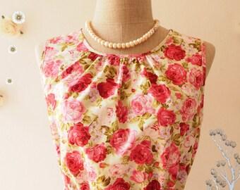 DARLING TEA DRESS : Floral Dress sleeveless dress floral sundress  dress Party Dress Floral Bridesmaid Dress- Size xs