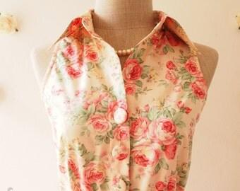SALE -Pink Floral Dress Tea Party Dress Floral Summer Dress Floral Bridesmaid Dress Shirt Vintage Inspired Sundress  -Size L