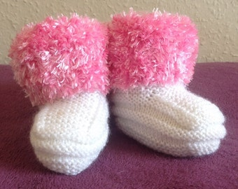 Pink and white fluffy ankle booties