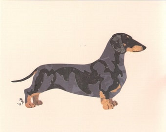 Dachshund (Smooth) handmade original cut paper collage dog art all colors available