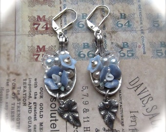 Fine Silver Plated, Blue Ceramic Flower, Vintage Lucite Flower, Faux Pearls, Spoon Earrings
