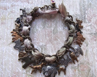 Vintage Dog Multi Charm Bracelet in Brass Ox with Recycled Sari Silk