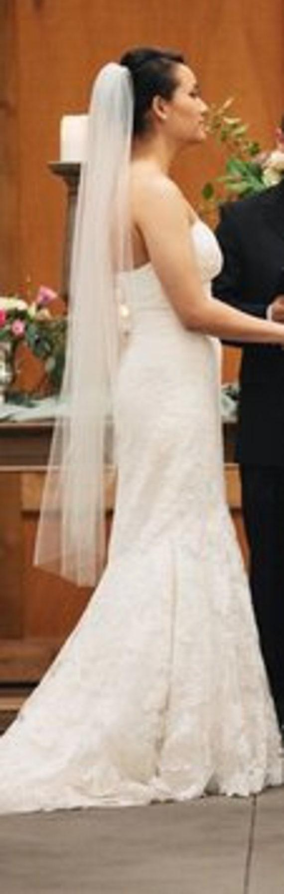 """Waltz wedding veil Ivory 49"""" READY TO SHIP White, Diamond white"""