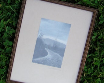 30s Print Framed Road to the Mountains Black and White