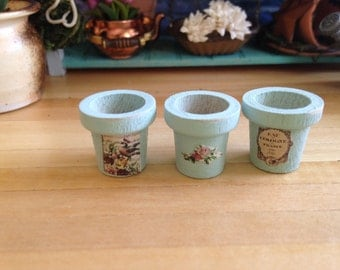 Dollhouse Miniature Shabby Chic Light Turquoise Wooden Flower Pots Set of Three