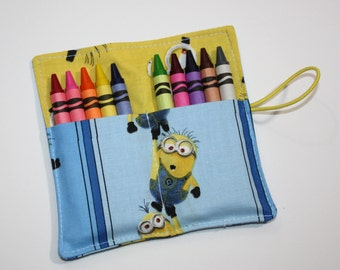Crayon Rolls Party Favors,  Made from Despicable Me Minions Fabric, holds 10 Crayons, Birthday Party Crayon Roll Favors