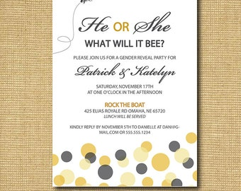 What Will It Bee: Printable Gender Reveal Party Invitation