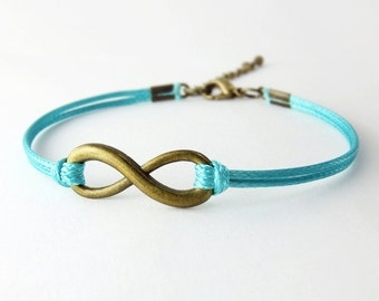 Infinity Bracelet, Aqua Blue Cord Bracelet, Endless Charm Bracelet, Friendship Bracelet
