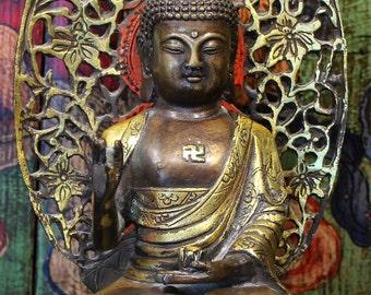 Buddha Statue, Gold Gild Bronze Buddha, Nepal, Tibet, Buddhist, Antique Buddha, Bodhisattva, Altar, Yoga, Meditation
