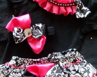 NEWBORN Baby Girl Take Home Outfit complete set, hot pink damask satin bloomers, onesie, headband