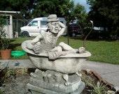 Rare Henri Studios 1977 Man in Clawfoot Bathtub Cast Stone Outdoor Sculpture/ Yard Art/ Water Fountain