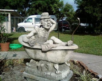 50% OFF SALE!!! Rare Henri Studios 1977 Man in Clawfoot Bathtub Cast Stone Outdoor Sculpture/ Yard Art/ Water Fountain