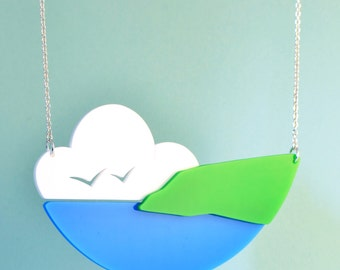 Seagulls at the Seaside necklace. Hand cut acrylic necklace