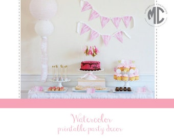 PRINTABLE PARTY COLLECTION -- Watercolor Party - Mirabelle Creations