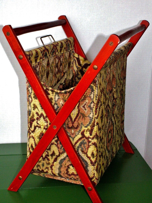 Vintage Folding Knitting Basket : Vintage sewing crochet knitting folding basket tapestry