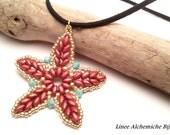 Tutorial stella marina con Superduo , Ciondolo Stella del Mare, Schema di perline con Swarovski e superduo