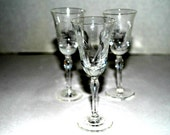 salevintage cordials     etched  glass     aperitifis    set of  3