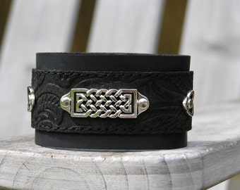 Silver Celtic Bar Cuff/ Bracelet with Black Etched Leather on Black Leather