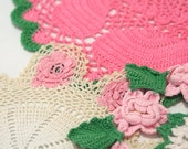 Vintage Lot of 6 Pink and Green Doilies Crochet Handmade Dainty Lace Cotton Doily Instant Collection roses rosettes