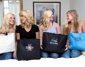 Tote bags monogrammed - embroidered - personalized - Set of 10