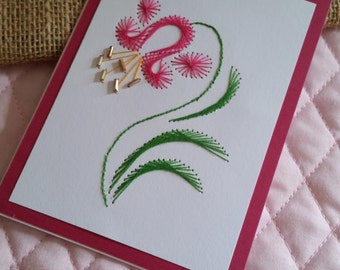 Stitched Pink Lily Card