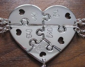 Five Piece Heart Pendant Necklaces with Initials and Hearts 2