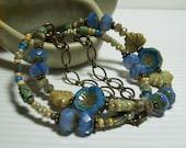 Blue Czech Flower Bracelet. Multi-Strand Bracelet. Czech Beads and Brass Bracelet. Cornflower Blue. Boho. Hippie Flowers.
