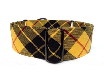 "Scotch Tartan Plaid Dog Collar - 1"" or 1.5"" Black and Gold Martingale Collar or Buckle Dog Collar"