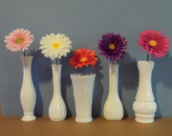 Milk Glass Vases 5 Vintage Florist Vases For Wedding Tables Baby Showers Party  Home Decor