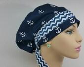 Handmade Woman Medical - Let's Sail! Anchors Up - Chevrons  -100% Cotton