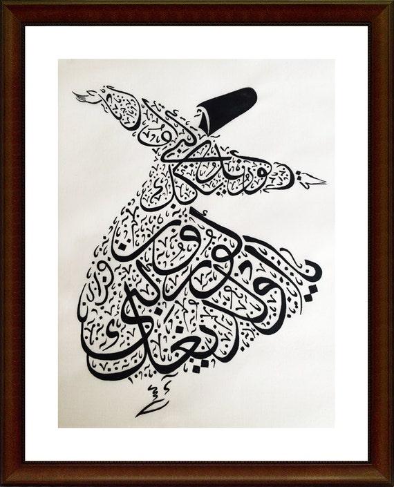 Semazen Whirling Dervish Rumi Hand Painted Sufi
