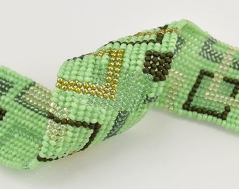 Mod Green Rectangles Bracelet - Ndebele Stitch Beadwork Cuff