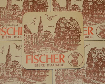Vintage Fischer Biere D'Alsace Coasters - Variant 2 - Buy as many as you need - Rare and out of print