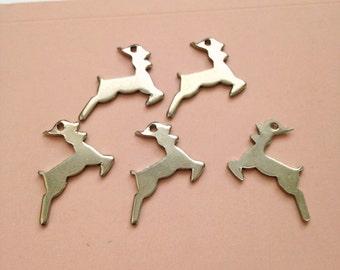 12 x vintage rhodium deer stag charms