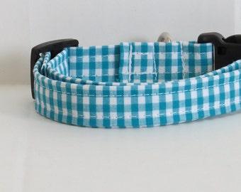 Gingham Dog collar, blue dog collar, handmade dog collar, dog accessory