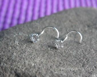 3mm round CZ diamond claw set STERLING SILVER nose screw