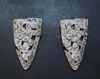 Early 1930s ART DECO CLIPS - Rhinestone Dress Ciips - Excellent Condition