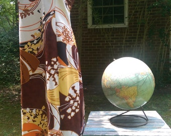 60s TORI RICHARD HAWAIIAN Dress Featuring Orange Brown Yellow and White Shipping Free in U.S.!!!