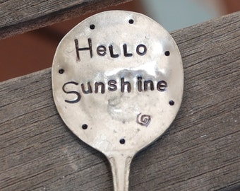 "HELLO SUNSHINE hand stamped Garden Marker Art LONG spoon 7.5"" great for flower pots"