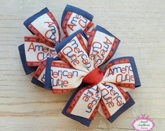 American Cutie Pinwheel Bow Set -  Piggy Bow Set