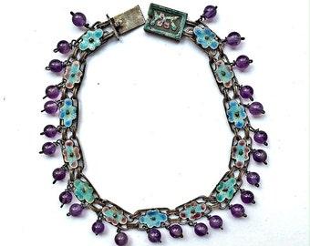 SALE Chinese Enamel Amethyst Antique Bracelet, Chinese Export, Amethyst Enameled Art Deco Bracelet NOW 175