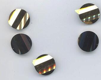 Six rarest-of-the-rare vintage Swarovski crystal pagoda beads: Art. 5107R - 14 mm - jet comet OR