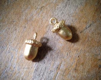 4 Pcs Acorn Charms 24K Matte GOLD plated Acorn Charm Woodland Charm Cone Charm Small Charm ...
