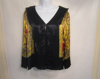 James Riva Satin Black and Yellow Top