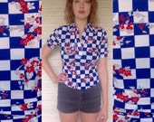 1970s checker floral polo - red white blue