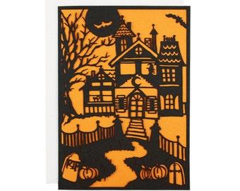 Haunted House Halloween Laser Cut Card