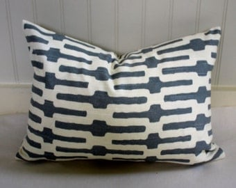 IN STOCK / Grey and Ivory Geometric Pillow Cover / Same fabric both sides